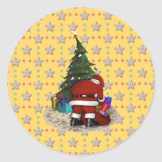 Father Christmas and the Christmas Tree Round Sticker