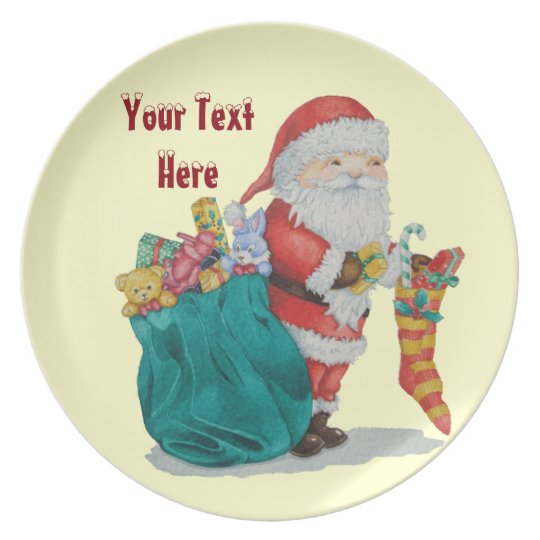 father christmas striped stocking wrapped gifts plate