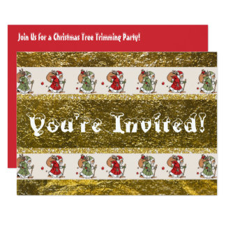Father Christmas Tree Trimming Party 13 Cm X 18 Cm Invitation Card