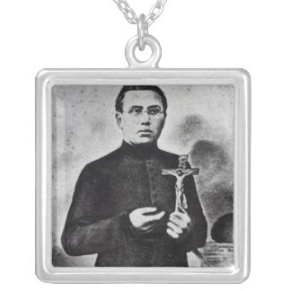 Father Damien Silver Plated Necklace