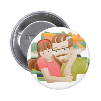 Father & daughter 6 cm round badge