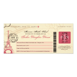 Father Daughter Dance Vintage Paris Boarding Pass Card