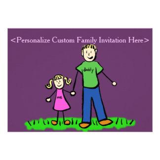 Father Daughter Family Art Custom Invitation