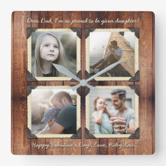 Father Daughter Personalized Instagram Photo Grid Wallclocks