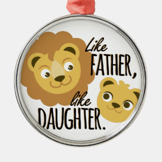 Father Daughter Silver-Colored Round Decoration