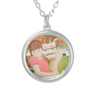 Father & daughter silver plated necklace