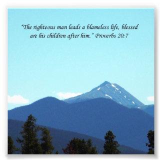 Father Gift Proverbs 20:7 Scripture Mountain Print Photo Art