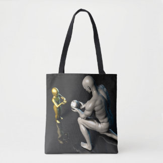 Father Imparting Wisdom to His Child or Son Tote Bag