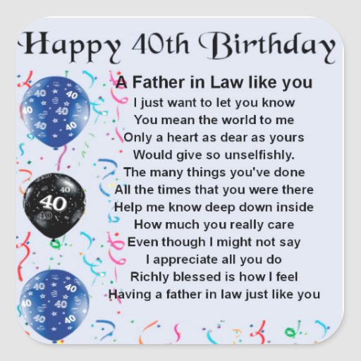 Father in Law Poem  -  40th Birthday Square Stickers