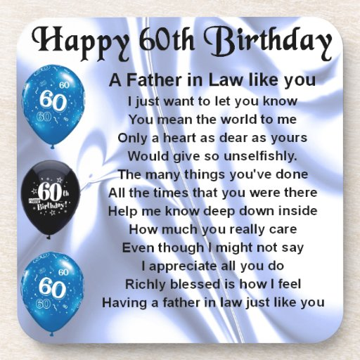 Father in Law Poem - 60th Birthday Beverage Coasters