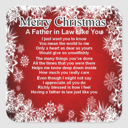 Father in Law Poem - Christmas Design Square Sticker