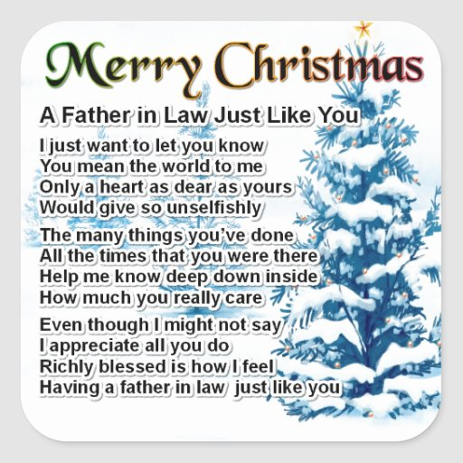 Father in Law Poem - Christmas Design Sticker