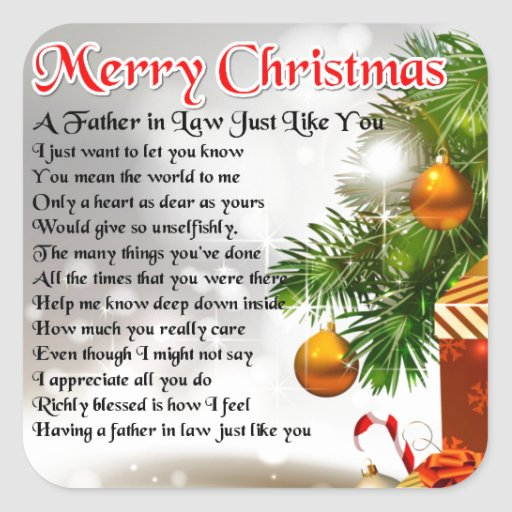 Father in Law Poem - Christmas Design Stickers