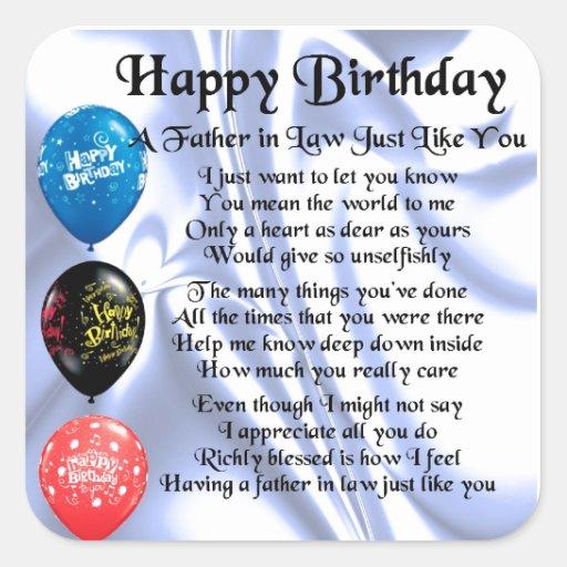 Father in Law Poem - Happy Birthday Square Sticker