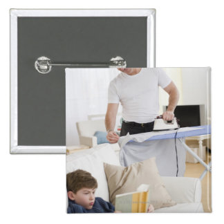 Father ironing 15 cm square badge