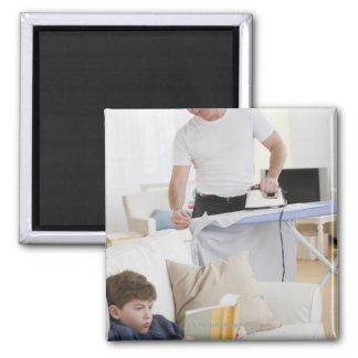 Father ironing refrigerator magnet