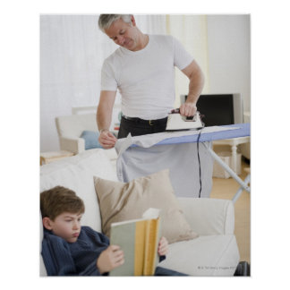 Father ironing print
