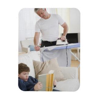 Father ironing rectangular photo magnet
