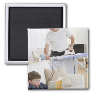 Father ironing square magnet
