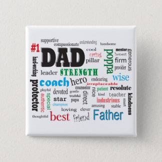 Father Mentor Coach Word Cloud 15 Cm Square Badge