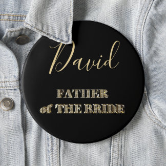 Father of The Bride Black Gold Glitter Typography 6 Cm Round Badge