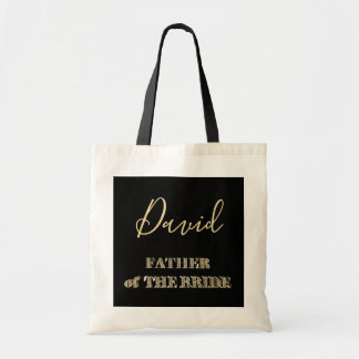 Father of The Bride Black Gold Glitter Typography Tote Bag