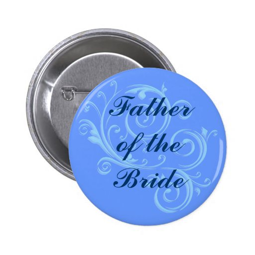 Father of the Bride Blue Scroll Button