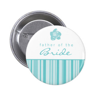 Father of the Bride Button-Modern Stripes (Blue) 6 Cm Round Badge