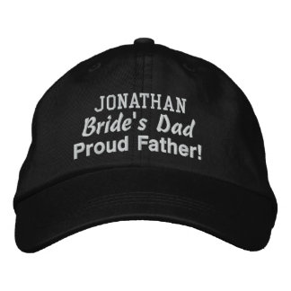 Father of the Bride Custom Name BLACK Embroidered Baseball Caps