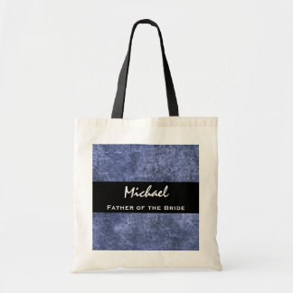 FATHER OF THE BRIDE Custom Name Blue Grunge Budget Tote Bag