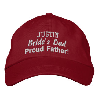 Father of the Bride Custom Name RED 03 Embroidered Hats