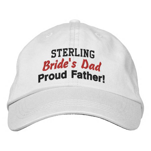 Father of the Bride Custom Name WHITE 02 Embroidered Baseball Caps