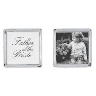 Father of The Bride Custom Photo Silver Finish Cufflinks