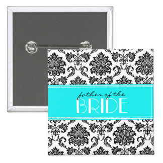 Father Of The Bride Damask Button in Blue
