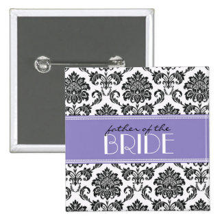 Father Of The Bride Damask Button in Purple