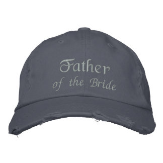 Father of the Bride Embroidered Text Blue Ball Cap Embroidered Cap