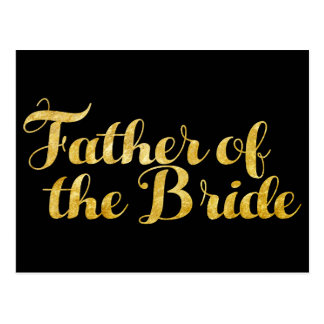Father of the bride gold postcard