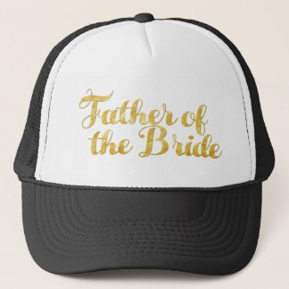 Father of the bride gold trucker hat