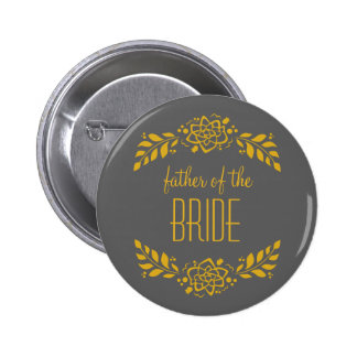 Father of the Bride Gold Wreath 6 Cm Round Badge
