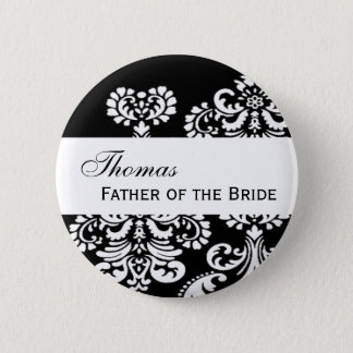 FATHER OF THE BRIDE Pin Black and White Damask