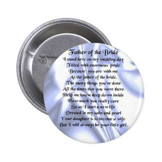 Father of the Bride Poem - Blue Silk 6 Cm Round Badge
