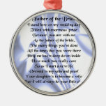 Father of the Bride Poem - Blue Silk Silver-Colored Round Decoration