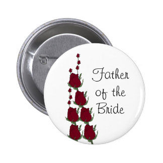 Father of the Bride Red Rose Wedding Button