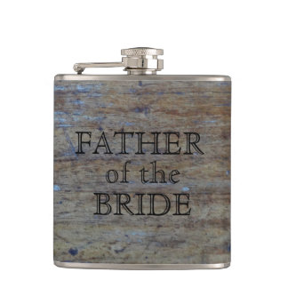 Father of the Bride | Rustic Wedding Wood Grain Hip Flask