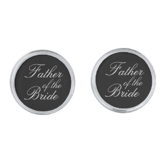 Father of The Bride Silver Finish Cuff Links