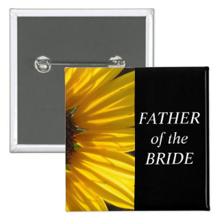 Father Of The Bride Sunflower Wedding Button