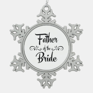 Father of the Bride Vintage Style Christmas Pewter Snowflake Decoration