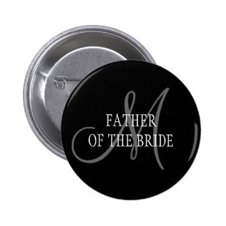Father of the Bride Wedding Monogram Button
