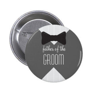 Father of the Groom Bowtie & Stripes 6 Cm Round Badge