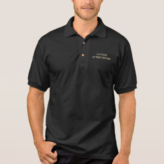 Father of The Groom Golden Glitter Typography Chic Polo Shirt
